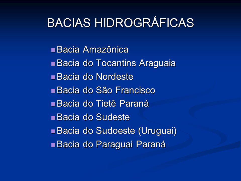 BACIAS HIDROGRÁFICAS Bacia Amazônica Bacia Amazônica Bacia do Tocantins Araguaia Bacia do Tocantins Araguaia Bacia do Nordeste Bacia do Nordeste Bacia
