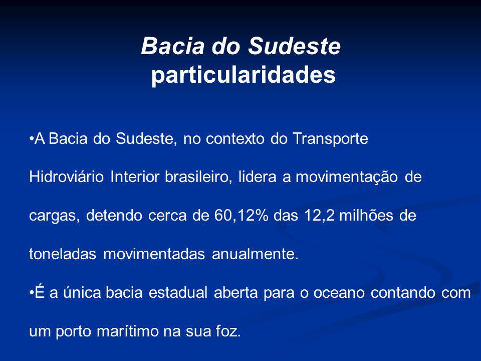 A Bacia do Sudeste, no contexto do Transporte Hidroviário Interior brasileiro, lidera a movimentação de cargas, detendo cerca de 60,12% das 12,2 milhõ