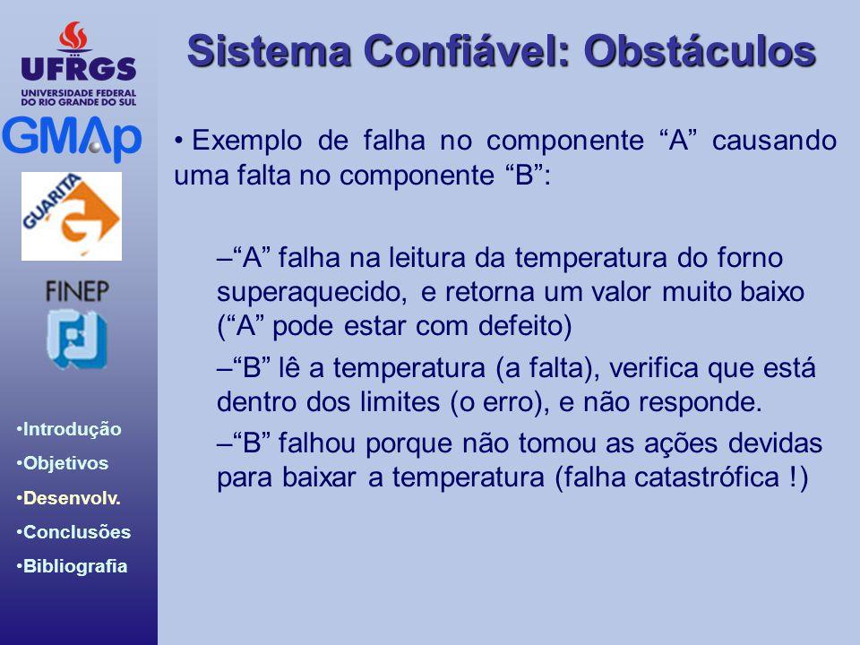 Sistema Confiável: Obstáculos Introdução Objetivos Desenvolv. Conclusões Bibliografia Exemplo de falha no componente A causando uma falta no component