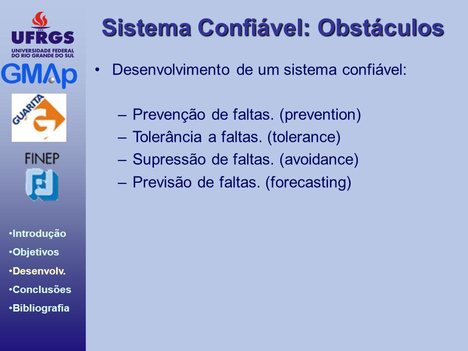 Sistema Confiável: Obstáculos Introdução Objetivos Desenvolv. Conclusões Bibliografia Desenvolvimento de um sistema confiável: –Prevenção de faltas. (