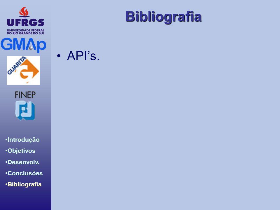 Bibliografia Introdução Objetivos Desenvolv. Conclusões Bibliografia APIs.