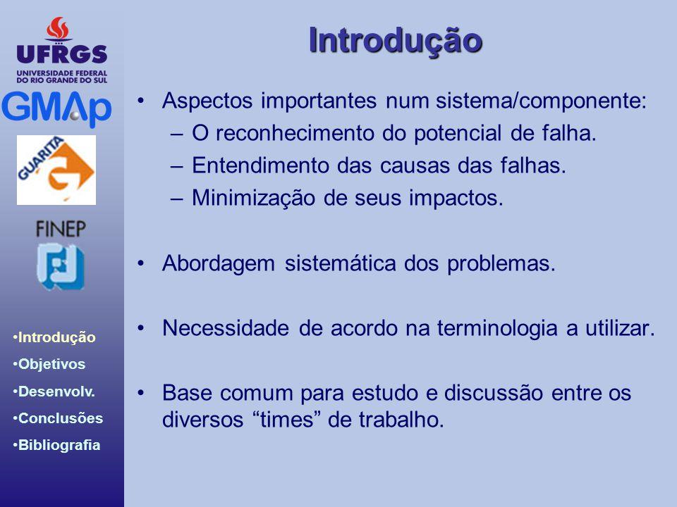 Introdução Introdução Objetivos Desenvolv. Conclusões Bibliografia Aspectos importantes num sistema/componente: –O reconhecimento do potencial de falh