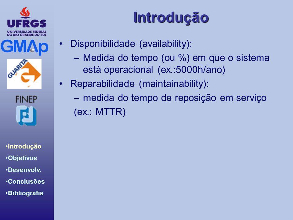 Introdução Introdução Objetivos Desenvolv. Conclusões Bibliografia Disponibilidade (availability): –Medida do tempo (ou %) em que o sistema está opera
