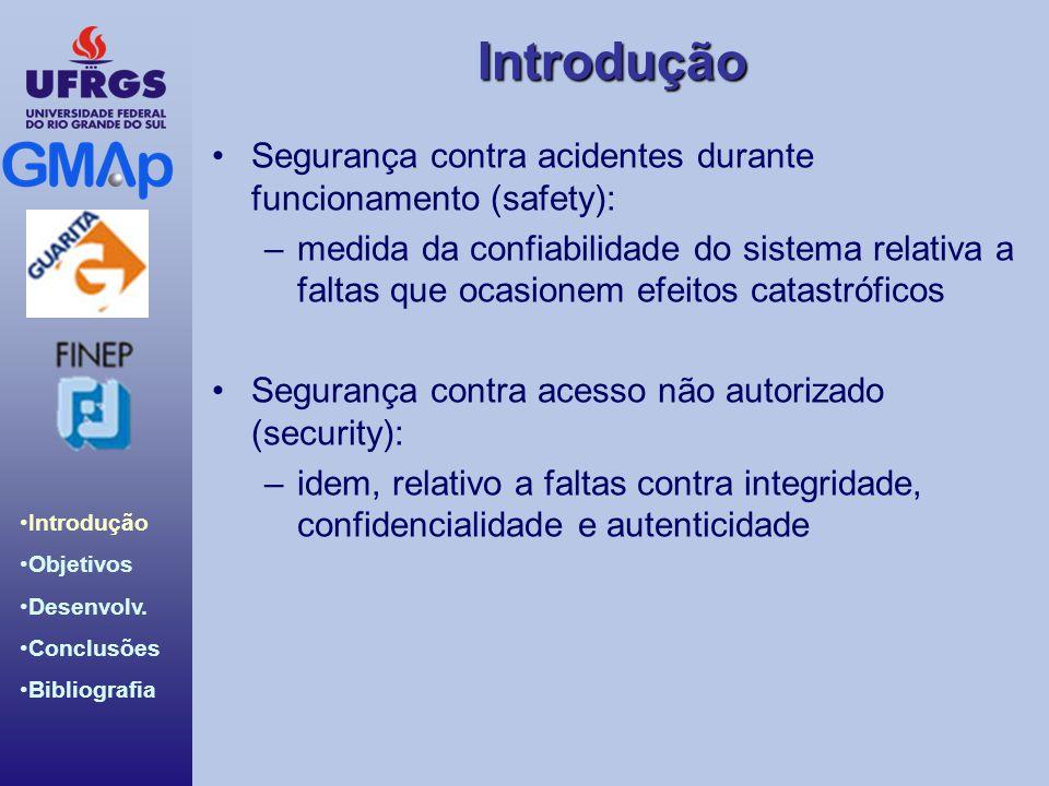 Introdução Introdução Objetivos Desenvolv. Conclusões Bibliografia Segurança contra acidentes durante funcionamento (safety): –medida da confiabilidad