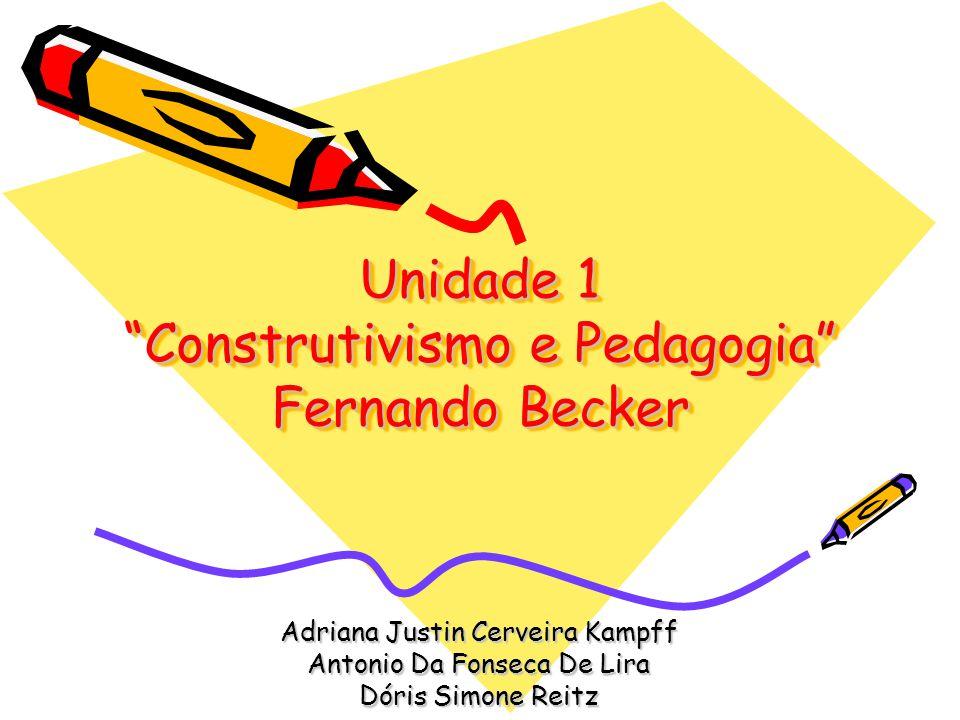 Unidade 1 Construtivismo e Pedagogia Fernando Becker Adriana Justin Cerveira Kampff Antonio Da Fonseca De Lira Dóris Simone Reitz