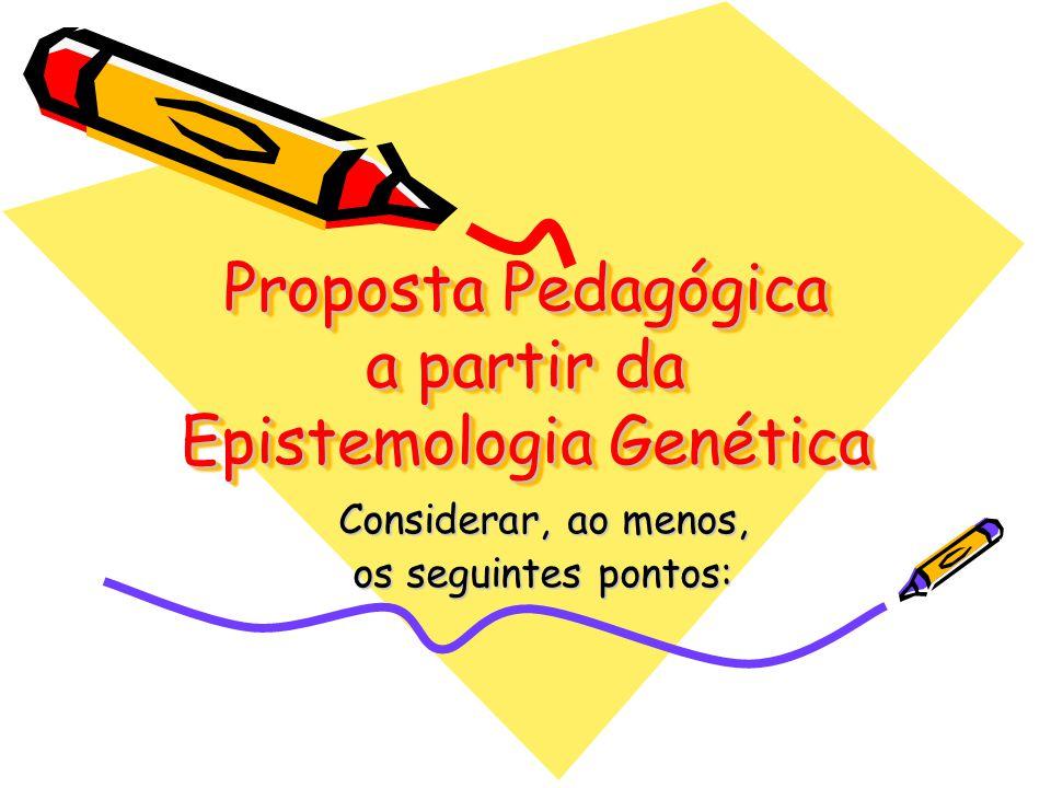 Proposta Pedagógica a partir da Epistemologia Genética Considerar, ao menos, os seguintes pontos: