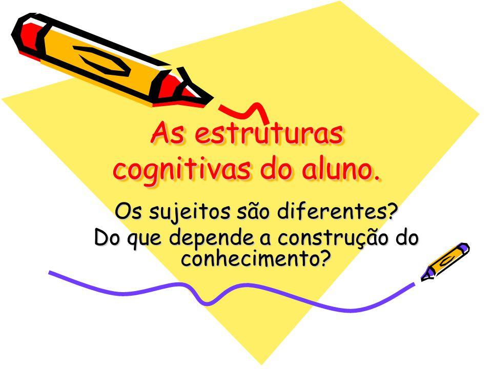 As estruturas cognitivas do aluno. Os sujeitos são diferentes? Do que depende a construção do conhecimento?