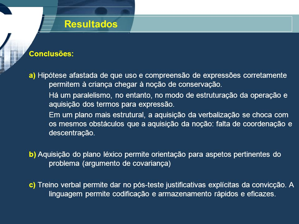 Conclusões: a) Hipótese afastada de que uso e compreensão de expressões corretamente permitem à criança chegar à noção de conservação.