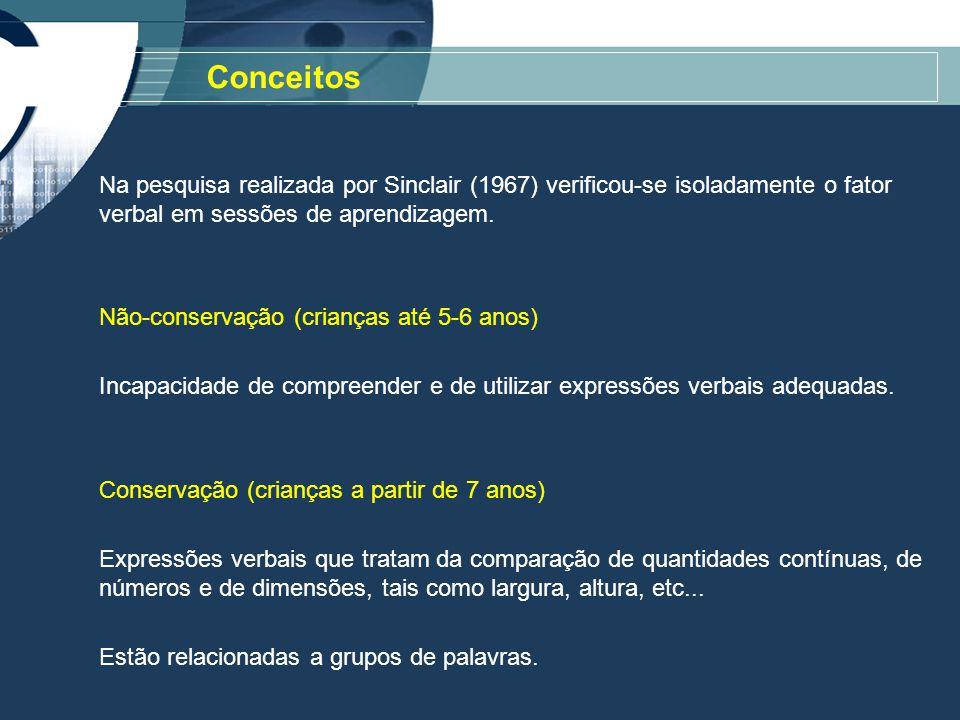 Na pesquisa realizada por Sinclair (1967) verificou-se isoladamente o fator verbal em sessões de aprendizagem.