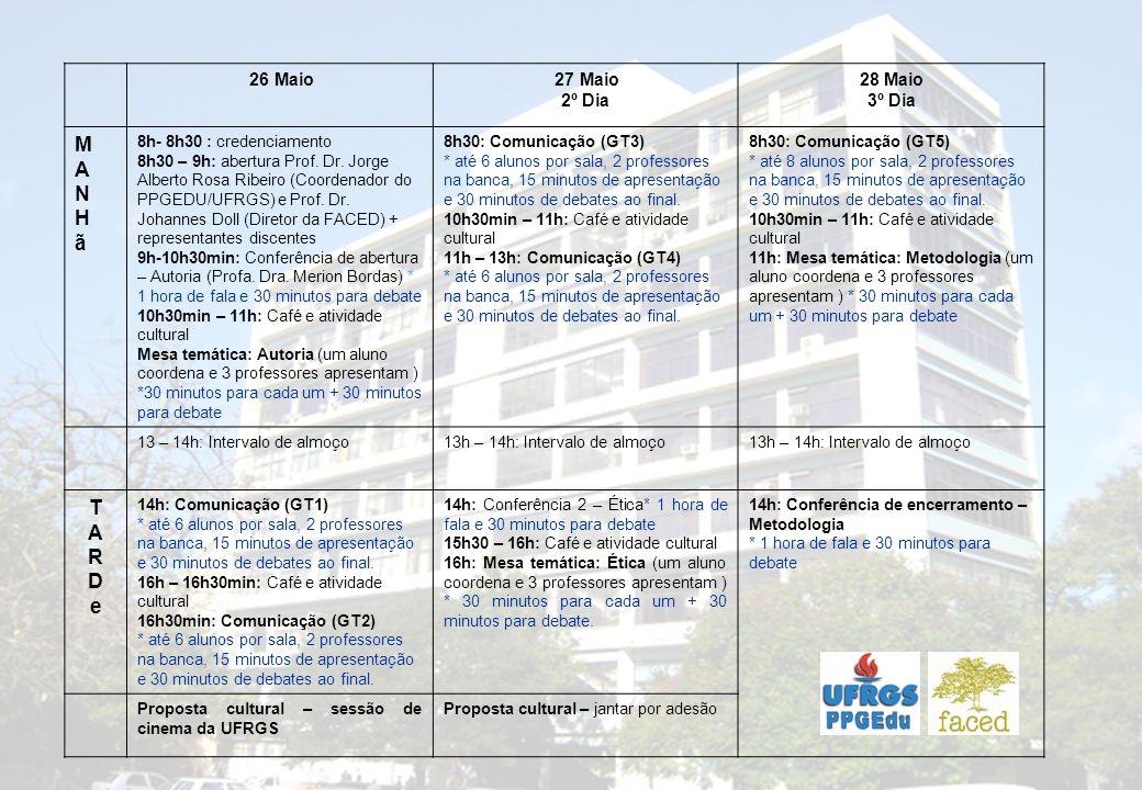 26 Maio 27 Maio 2º Dia 28 Maio 3º Dia MANHãMANHã 8h- 8h30 : credenciamento 8h30 – 9h: abertura Prof.