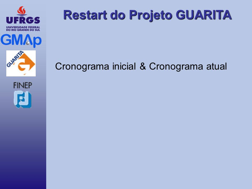 Restart do Projeto GUARITA Cronograma inicial & Cronograma atual