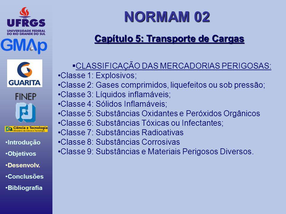 NORMAM 02 Introdução Objetivos Desenvolv. Conclusões Bibliografia Capítulo 5: Transporte de Cargas CLASSIFICAÇÃO DAS MERCADORIAS PERIGOSAS: Classe 1: