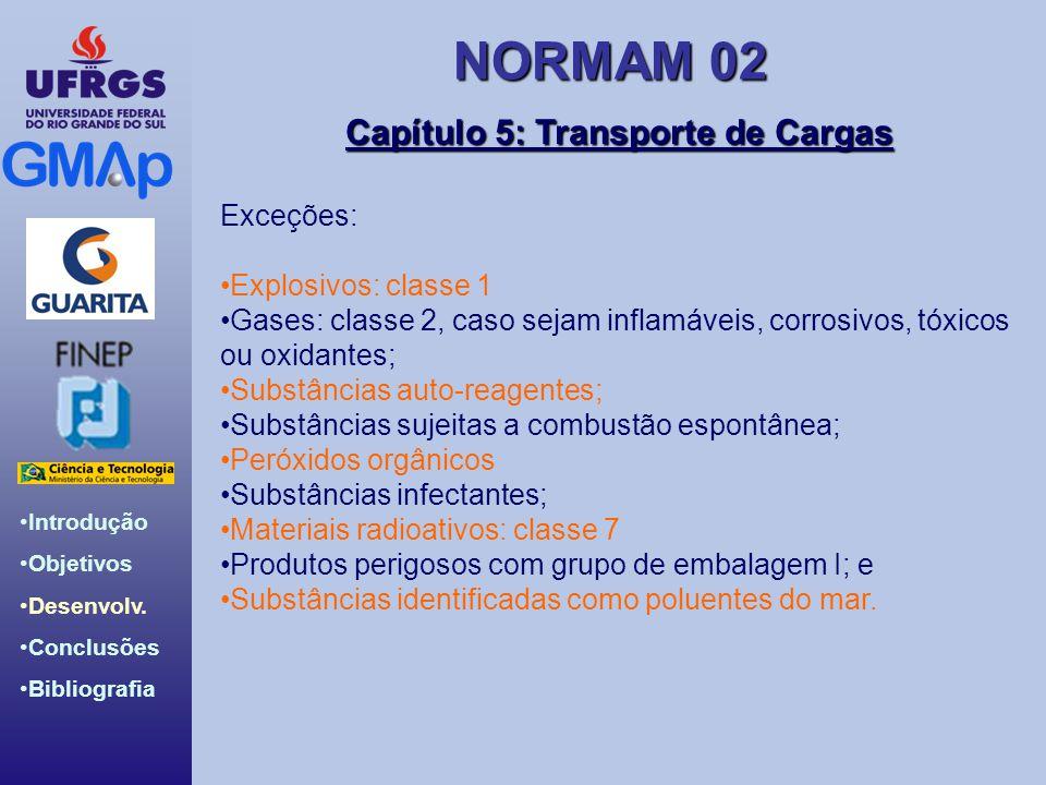 NORMAM 02 Introdução Objetivos Desenvolv. Conclusões Bibliografia Capítulo 5: Transporte de Cargas Exceções: Explosivos: classe 1 Gases: classe 2, cas