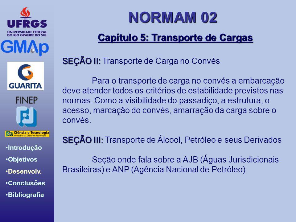 NORMAM 02 Introdução Objetivos Desenvolv. Conclusões Bibliografia Capítulo 5: Transporte de Cargas SEÇÃO II: SEÇÃO II: Transporte de Carga no Convés P