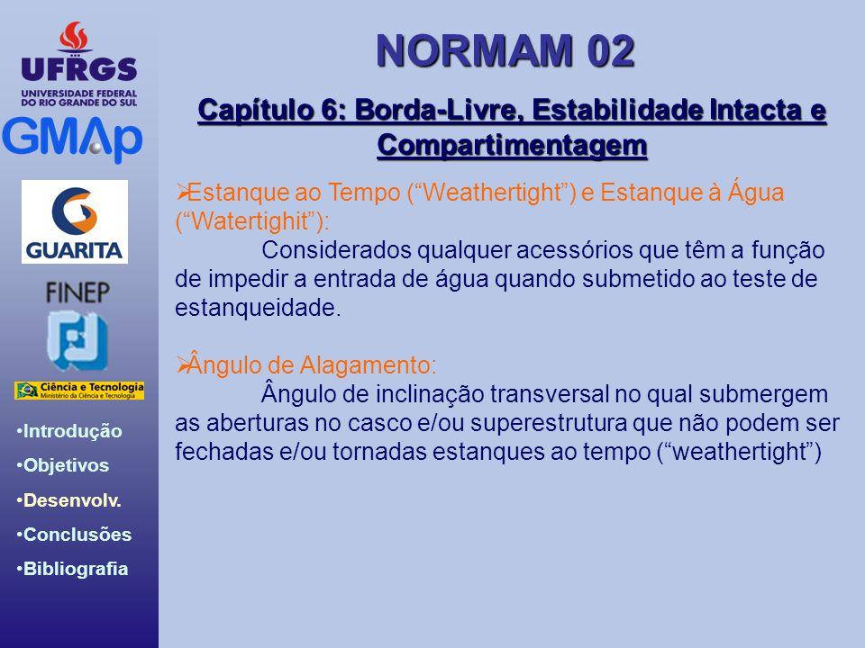 NORMAM 02 Introdução Objetivos Desenvolv. Conclusões Bibliografia Capítulo 6: Borda-Livre, Estabilidade Intacta e Compartimentagem Estanque ao Tempo (