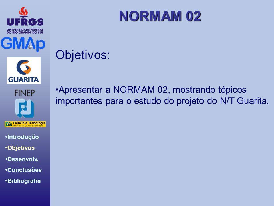 NORMAM 02 Introdução Objetivos Desenvolv. Conclusões Bibliografia Objetivos: Apresentar a NORMAM 02, mostrando tópicos importantes para o estudo do pr