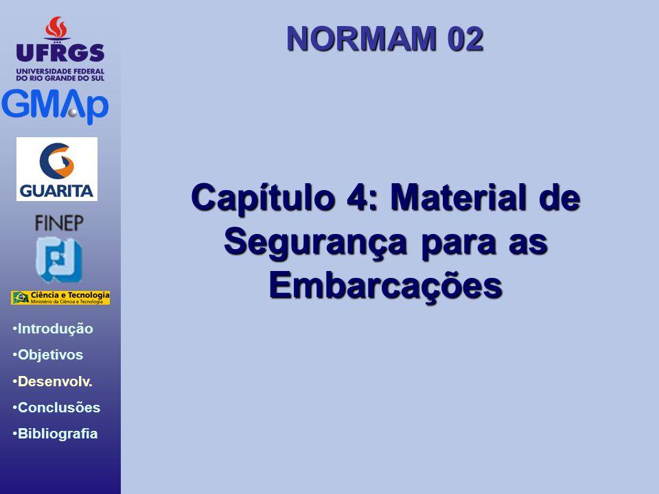 NORMAM 02 Introdução Objetivos Desenvolv. Conclusões Bibliografia Capítulo 4: Material de Segurança para as Embarcações