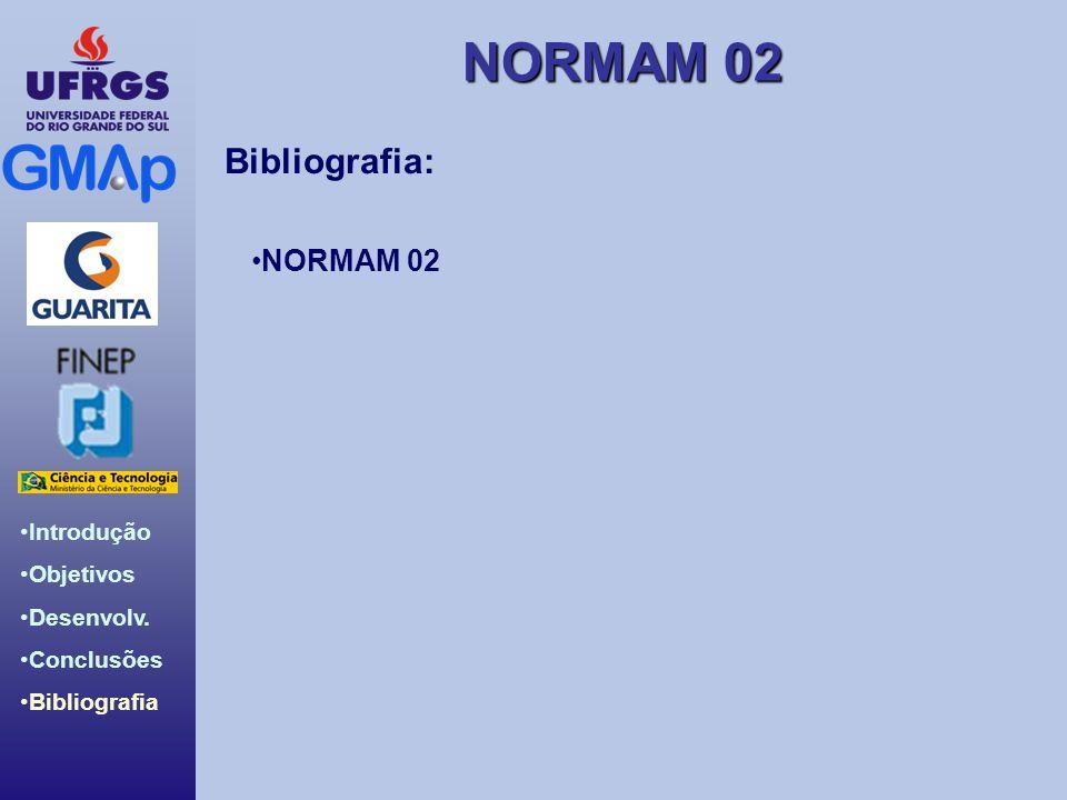 NORMAM 02 Introdução Objetivos Desenvolv. Conclusões Bibliografia Bibliografia: NORMAM 02