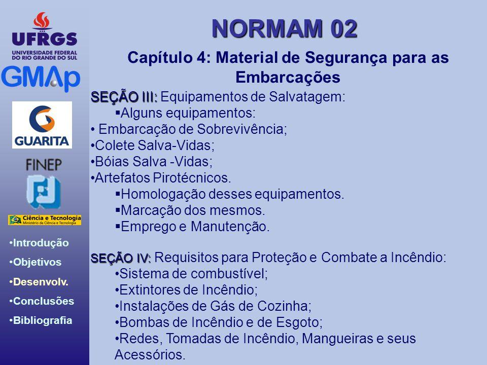 NORMAM 02 Introdução Objetivos Desenvolv. Conclusões Bibliografia Capítulo 4: Material de Segurança para as Embarcações SEÇÃO III: SEÇÃO III: Equipame