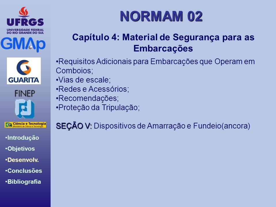 NORMAM 02 Introdução Objetivos Desenvolv. Conclusões Bibliografia Capítulo 4: Material de Segurança para as Embarcações Requisitos Adicionais para Emb