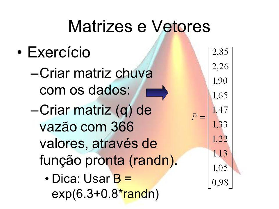 Matrizes e Vetores Exercício –Criar matriz chuva com os dados: –Criar matriz (q) de vazão com 366 valores, através de função pronta (randn). Dica: Usa