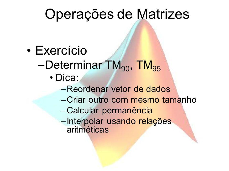 Operações de Matrizes Exercício –Determinar TM 90, TM 95 Dica: –Reordenar vetor de dados –Criar outro com mesmo tamanho –Calcular permanência –Interpo