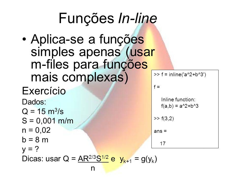 Funções In-line Aplica-se a funções simples apenas (usar m-files para funções mais complexas) Exercício Dados: Q = 15 m 3 /s S = 0,001 m/m n = 0,02 b