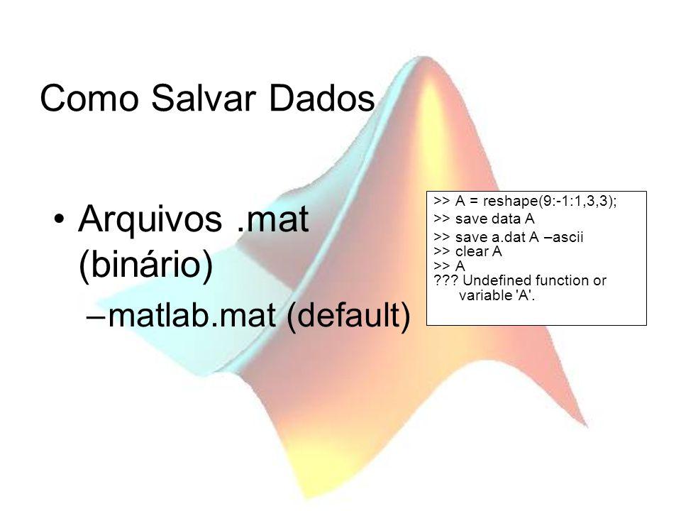 Como Salvar Dados Arquivos.mat (binário) –matlab.mat (default) >> A = reshape(9:-1:1,3,3); >> save data A >> save a.dat A –ascii >> clear A >> A ??? U