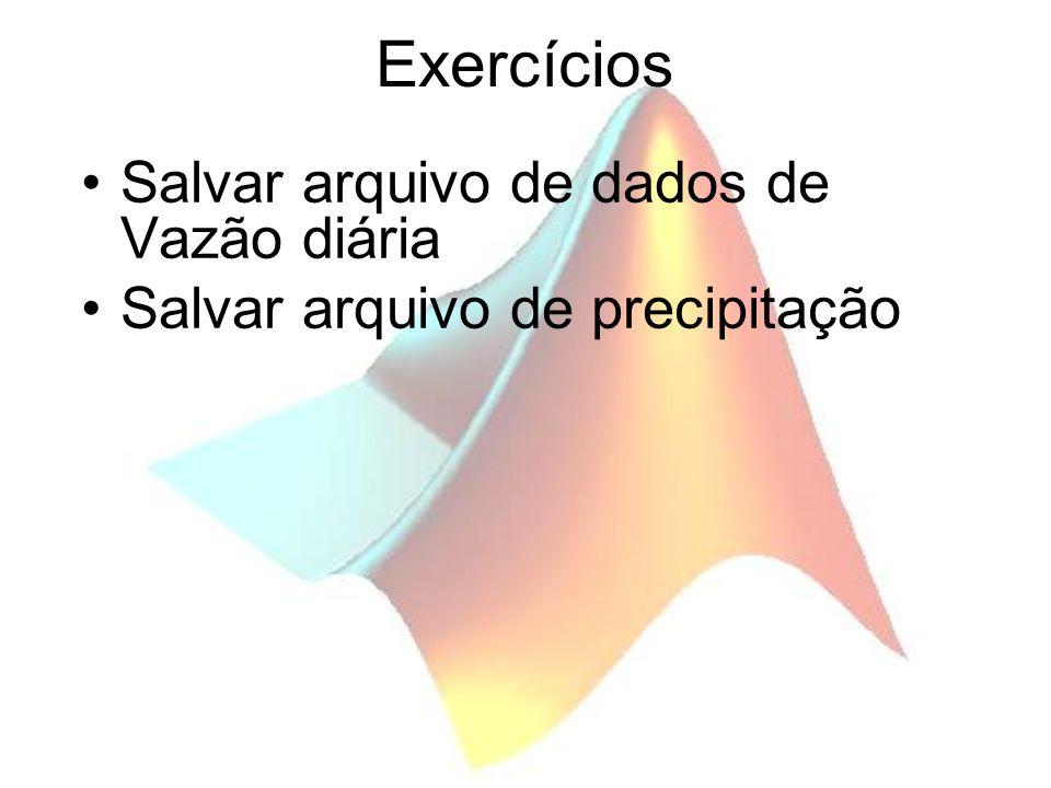 Exercícios Salvar arquivo de dados de Vazão diária Salvar arquivo de precipitação