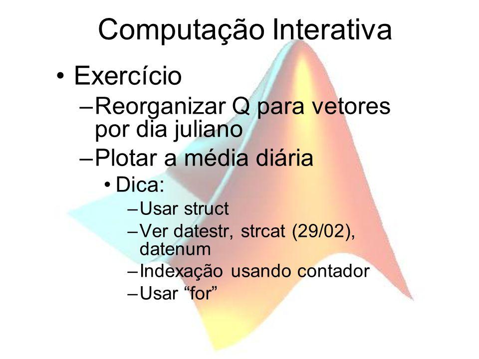Computação Interativa Exercício –Reorganizar Q para vetores por dia juliano –Plotar a média diária Dica: –Usar struct –Ver datestr, strcat (29/02), da