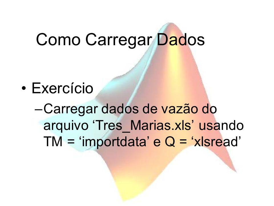 Como Carregar Dados Exercício –Carregar dados de vazão do arquivo Tres_Marias.xls usando TM = importdata e Q = xlsread