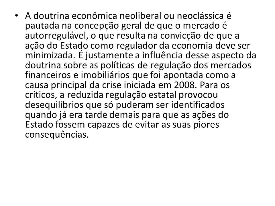 A doutrina econômica neoliberal ou neoclássica é pautada na concepção geral de que o mercado é autorregulável, o que resulta na convicção de que a açã