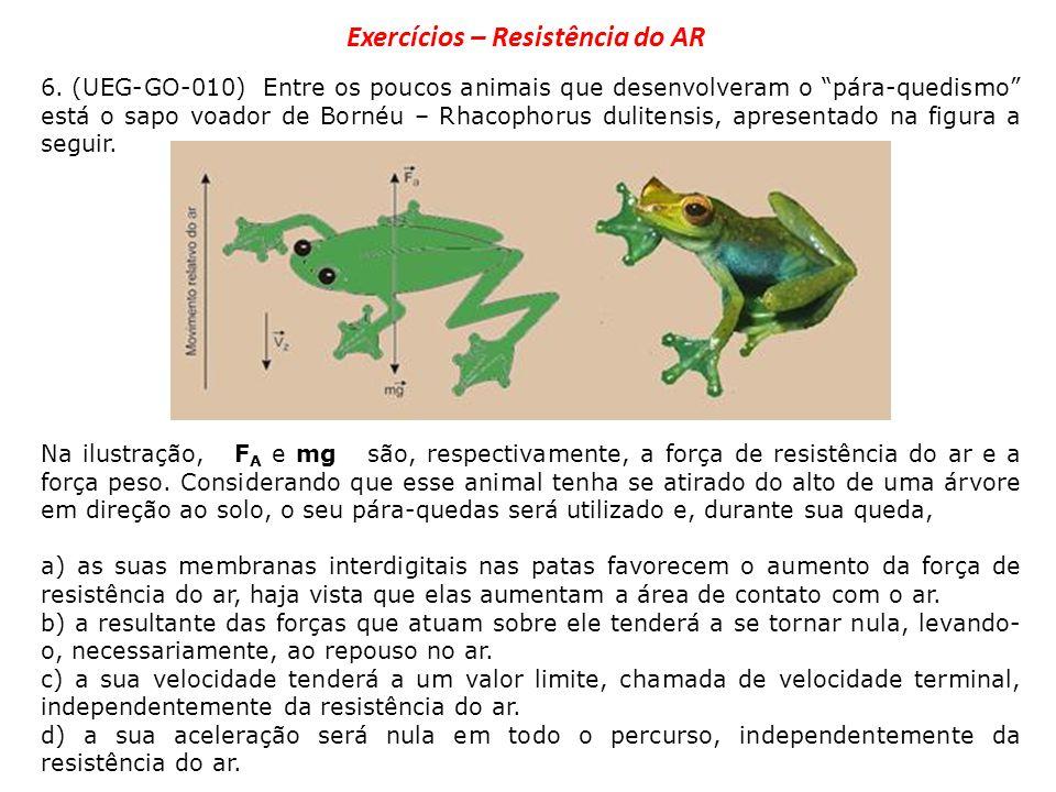 6. (UEG-GO-010) Entre os poucos animais que desenvolveram o pára-quedismo está o sapo voador de Bornéu – Rhacophorus dulitensis, apresentado na figura