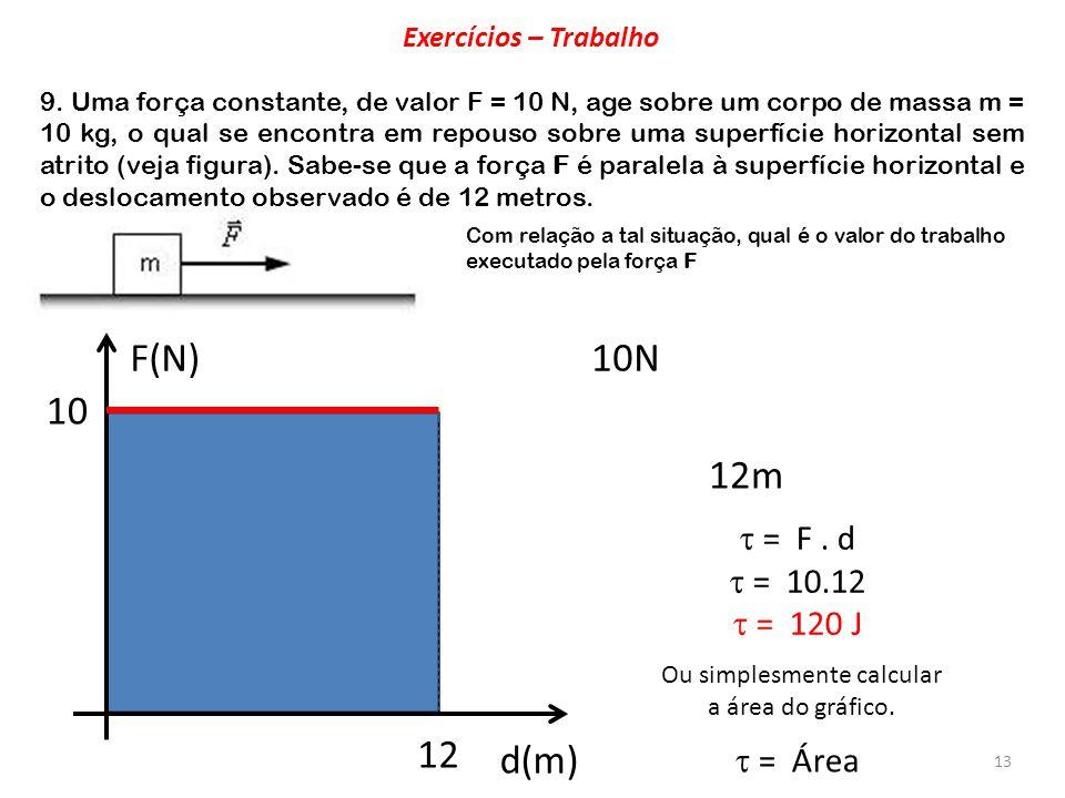 13 F(N) d(m) 10 12 10N 12m = F. d = 10.12 = 120 J Ou simplesmente calcular a área do gráfico. = Área 9. Uma força constante, de valor F = 10 N, age so