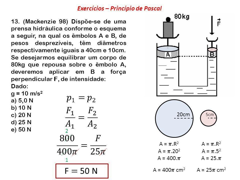 13. (Mackenzie 98) Dispõe-se de uma prensa hidráulica conforme o esquema a seguir, na qual os êmbolos A e B, de pesos desprezíveis, têm diâmetros resp