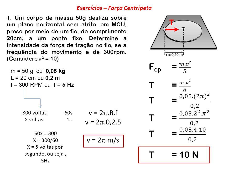 1. Um corpo de massa 50g desliza sobre um plano horizontal sem atrito, em MCU, preso por meio de um fio, de comprimento 20cm, a um ponto fixo. Determi
