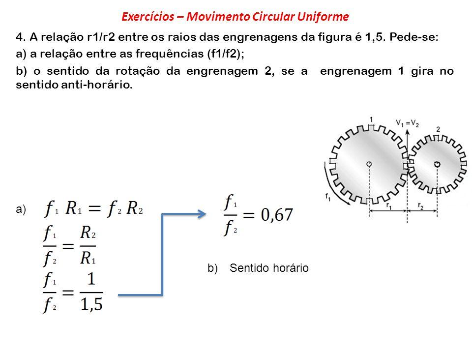 4. A relação r1/r2 entre os raios das engrenagens da figura é 1,5. Pede-se: a) a relação entre as frequências (f1/f2); b) o sentido da rotação da engr
