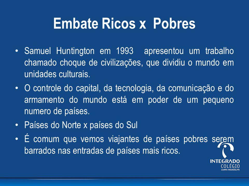 Embate Ricos x Pobres Samuel Huntington em 1993 apresentou um trabalho chamado choque de civilizações, que dividiu o mundo em unidades culturais. O co
