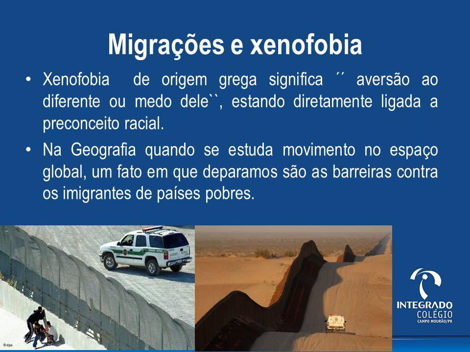 Migrações e xenofobia Xenofobia de origem grega significa ´´ aversão ao diferente ou medo dele``, estando diretamente ligada a preconceito racial. Na
