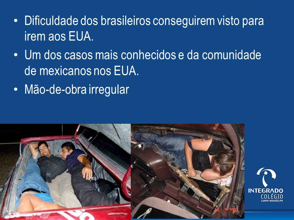 Dificuldade dos brasileiros conseguirem visto para irem aos EUA. Um dos casos mais conhecidos e da comunidade de mexicanos nos EUA. Mão-de-obra irregu