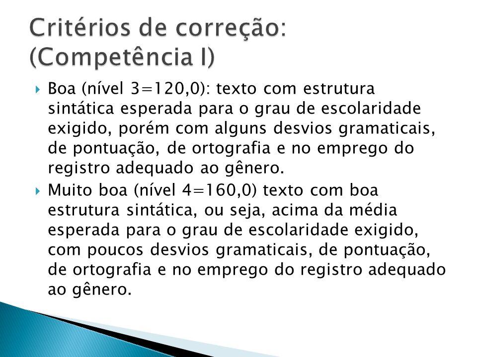 Boa (nível 3=120,0): texto com estrutura sintática esperada para o grau de escolaridade exigido, porém com alguns desvios gramaticais, de pontuação, d