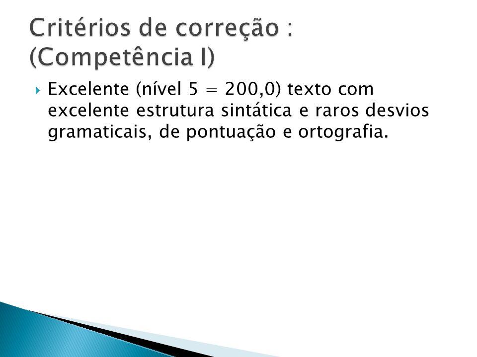 Excelente (nível 5 = 200,0) texto com excelente estrutura sintática e raros desvios gramaticais, de pontuação e ortografia.