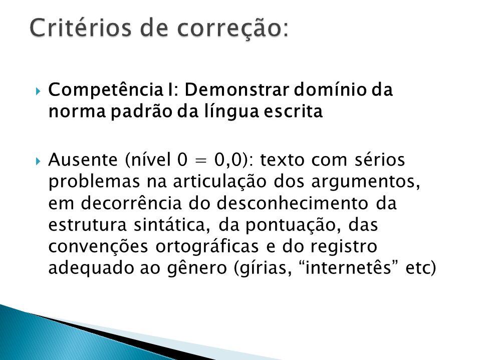 Baixa (nível 1 = 40,0): texto com estruturas linguísticas rudimentares, isto é, que, embora se configure minimamente como um texto, apresente graves problemas de pontuação, de ortografia e no emprego do registro adequado ao gênero.