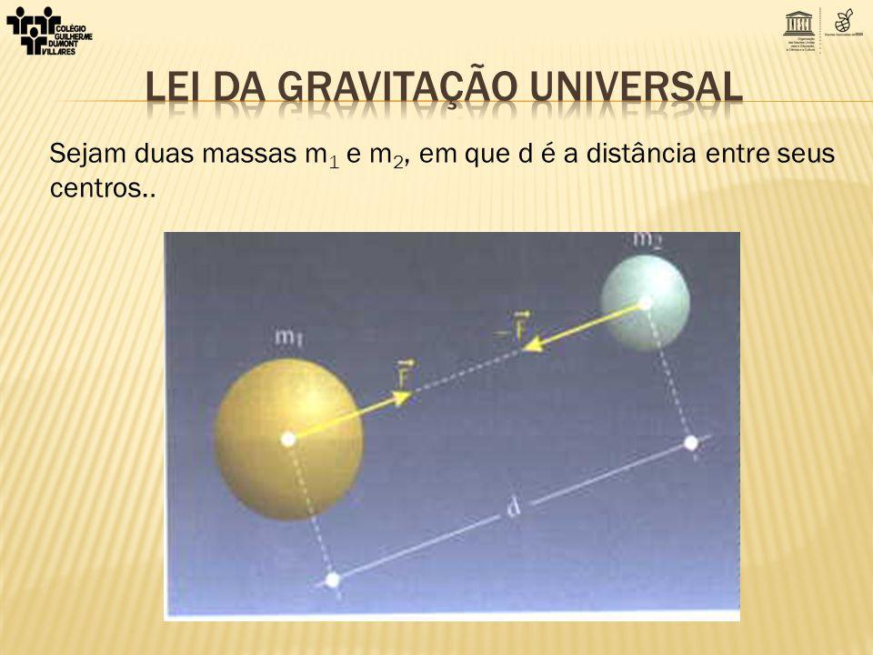 Sejam duas massas m 1 e m 2, em que d é a distância entre seus centros..