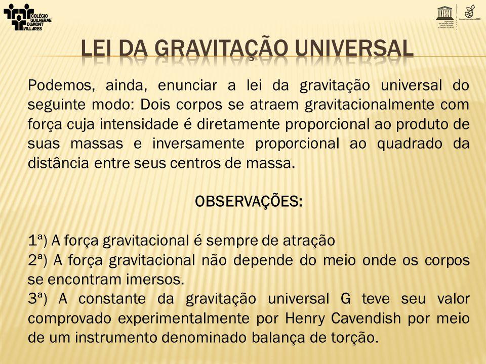 Podemos, ainda, enunciar a lei da gravitação universal do seguinte modo: Dois corpos se atraem gravitacionalmente com força cuja intensidade é diretam