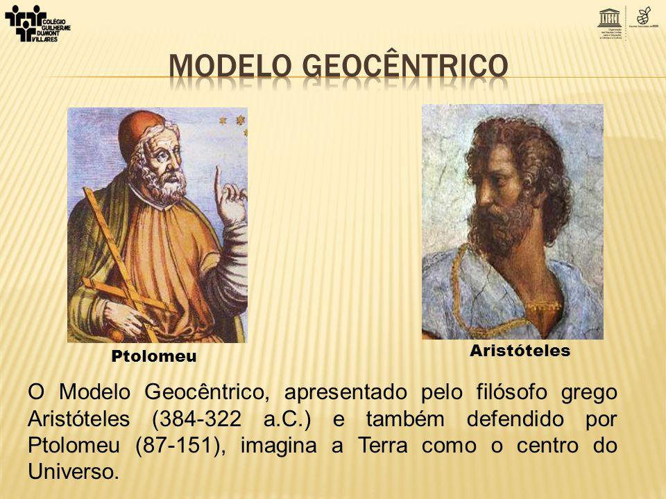 Ptolomeu Aristóteles O Modelo Geocêntrico, apresentado pelo filósofo grego Aristóteles (384-322 a.C.) e também defendido por Ptolomeu (87-151), imagin