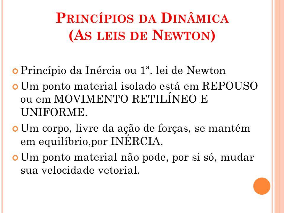 P RINCÍPIOS DA D INÂMICA (A S LEIS DE N EWTON ) Princípio da Inércia ou 1ª. lei de Newton Um ponto material isolado está em REPOUSO ou em MOVIMENTO RE