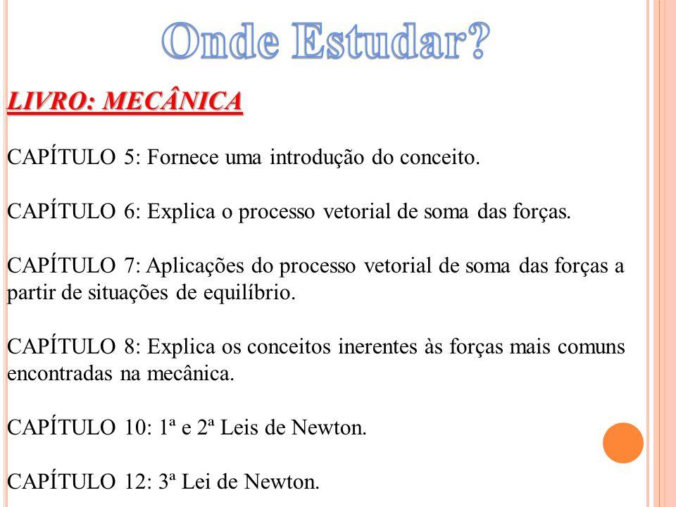 LIVRO: MECÂNICA CAPÍTULO 5: Fornece uma introdução do conceito. CAPÍTULO 6: Explica o processo vetorial de soma das forças. CAPÍTULO 7: Aplicações do