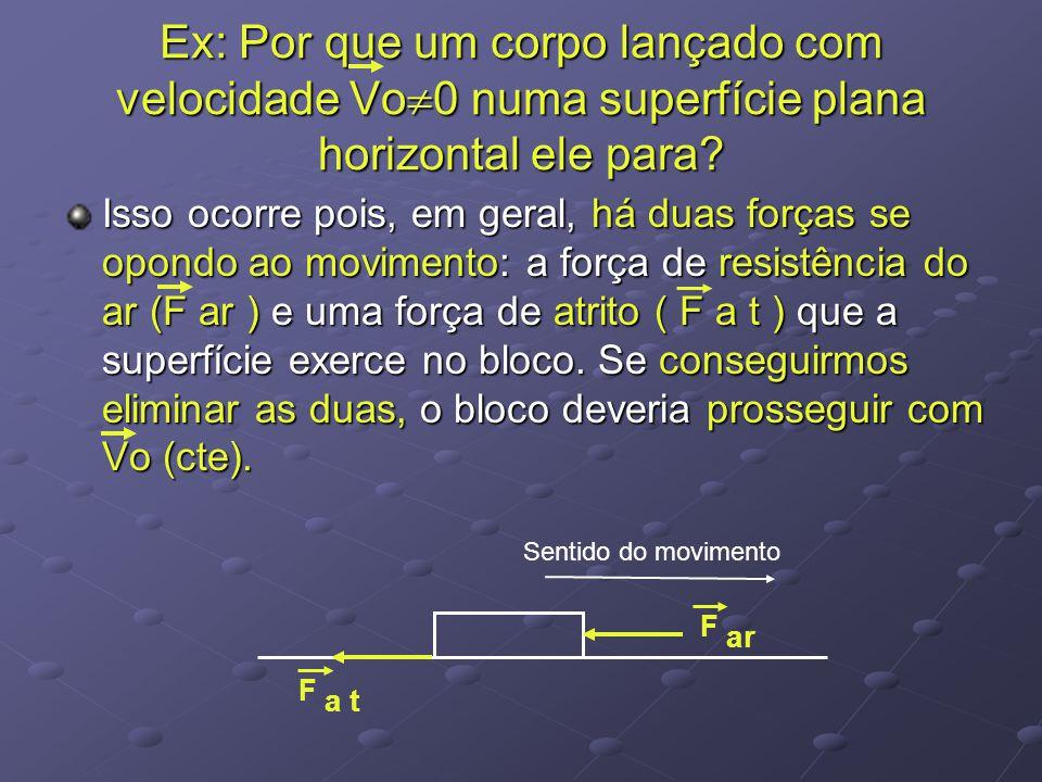 Ex: Por que um corpo lançado com velocidade Vo 0 numa superfície plana horizontal ele para? Isso ocorre pois, em geral, há duas forças se opondo ao mo