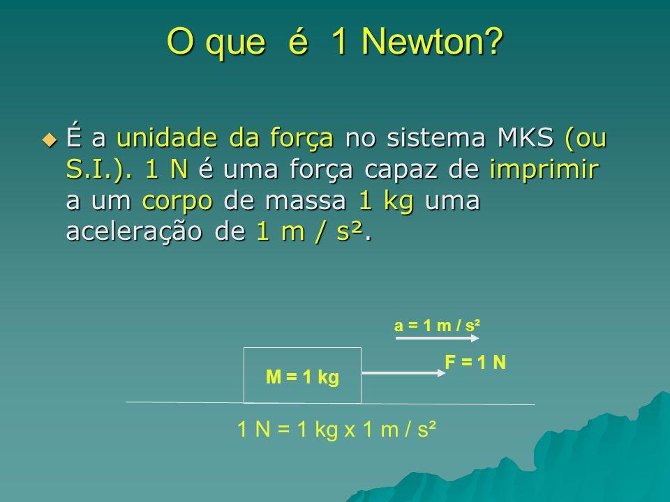 O que é 1 Newton? É a unidade da força no sistema MKS (ou S.I.). 1 N é uma força capaz de imprimir a um corpo de massa 1 kg uma aceleração de 1 m / s²